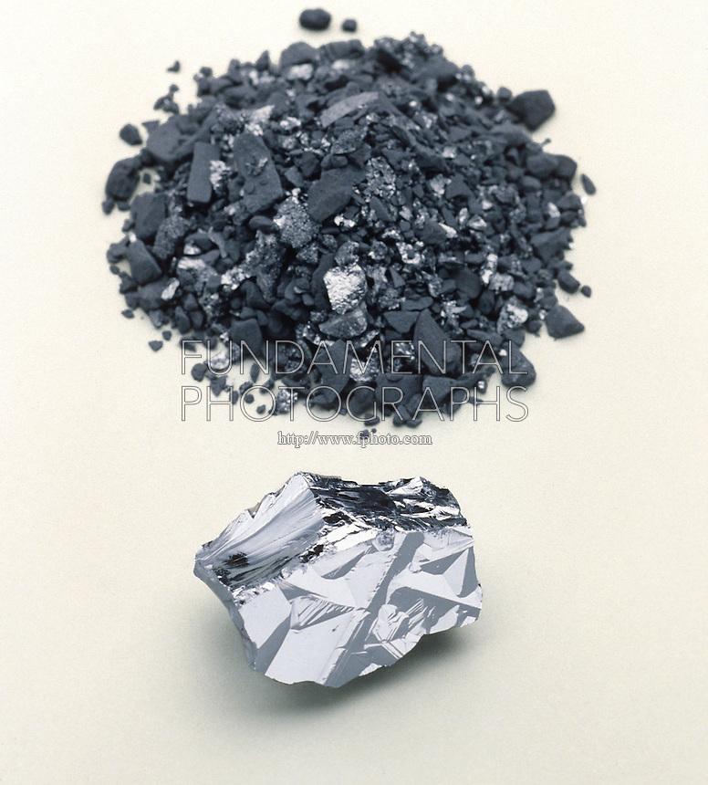 SILICON AND BORON<br /> Crystalline Metalloids<br /> Top: boron. Bottom: silicon