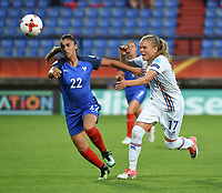 20170718 - TILBURG , NETHERLANDS : French Sakina Karchaoui (L) and Iceland's Agla Maria Albertsdottir (R) pictured during the female soccer game between France and Iceland  , the frist game in group C at the Women's Euro 2017 , European Championship in The Netherlands 2017 , Tuesday 18 th June 2017 at Stadion Koning Willem II  in Tilburg , The Netherlands PHOTO SPORTPIX.BE | DIRK VUYLSTEKE