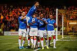 25.09.2018 Livingston v Rangers: Connor Goldson helps Glen Kamara celebrate his goal