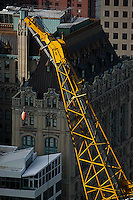 aerial photograph crane World Trade Center construction site, Manhattan, New York City