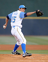 April 9, 2009: LHP Edgar Osuna (15) of the Myrtle Beach Pelicans, Class A affiliate of the Atlanta Braves, throws on 2009 opening day at BB&T Coastal Field in Myrtle Beach, S.C. Photo by:  Tom Priddy/Four Seam Images