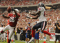Aug 18, 2007; Glendale, AZ, USA; Arizona Cardinals cornerback Roderick Hood (26) breaks up a pass intended for Houston Texans wide receiver Andre Johnson (80) at University of Phoenix Stadium. Mandatory Credit: Mark J. Rebilas-US PRESSWIRE Copyright © 2007 Mark J. Rebilas