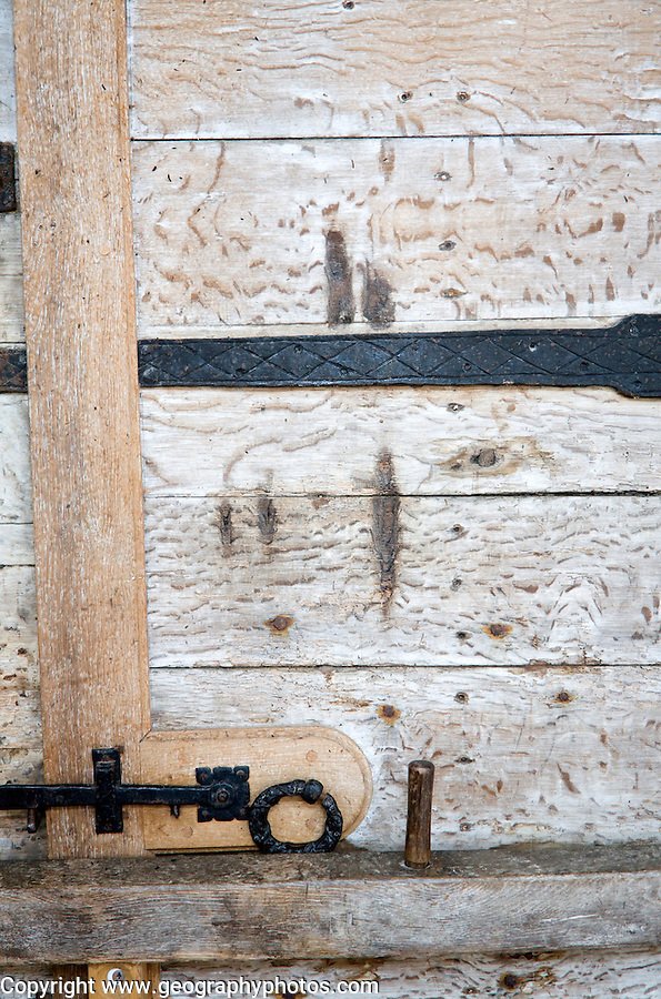 Claw marks of the legendary Black dog of Bungay on doors of Holy Trinity church, Blythburgh, Suffolk, England