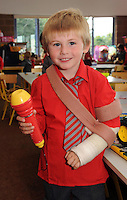 29-08-2013: Despite having a broken hand, Thomas Harrison was well able for  his first day at Holy Cross National School, Killarney on Thursday. Picture: Eamonn Keogh (MacMonagle, Killarney)