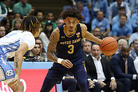 CHAPEL HILL, NC - NOVEMBER 06: Prentiss Hubb #3 of the University of Notre Dame dribbles the ball during a game between Notre Dame and North Carolina at Dean E. Smith Center on November 06, 2019 in Chapel Hill, North Carolina.