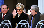 Sandy Miller waves to the crowd as former Govs. Bob Miller, left, and Robert List wait for the start of the inauguration at the Capitol, in Carson City, Nev., on Monday, Jan. 7, 2019. (Cathleen Allison/Las Vegas Review-Journal)
