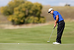 VALENTINE, NE - OCTOBER 3: Alejandro Perazzo from South Dakota State rolls his birdie putt on the 5th hole during the final round of the South Dakota State Invitational Tuesday at The Prairie Club in Valentine, NE. (Photo by Dave Eggen/Inertia)