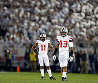 Ohio State Buckeyes linebacker Darron Lee (43) and Ohio State Buckeyes defensive back Vonn Bell (11) during the 1st quarter of the NCAA Division I football game at Beaver Stadium in University Park, PA on October 25, 2014. (Columbus Dispatch photo by Jonathan Quilter)