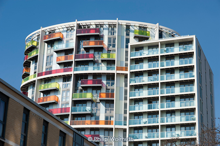 Affordable housing development of flats for rent and shared ownership overlooking the site of the London 2012 Olympic Games in Stratford, built by East Homes Limited in partnership with the London Borough of Newham and Telford Homes PLC.