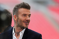 David Beckham, one of the class of 92, in cheerful mood ahead of kick-off during AFC Fylde vs Salford City, Vanarama National League Football Promotion Final at Wembley Stadium on 11th May 2019