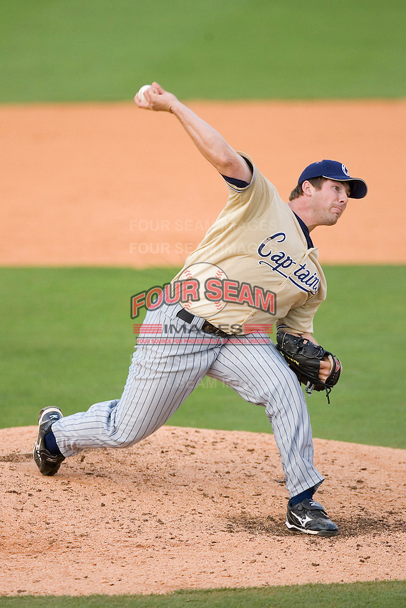 Relief pitcher Matthew Langwell #44 of the Lake County Captains in action versus the Kannapolis Intimidators at Fieldcrest Cannon Stadium May 3, 2009 in Kannapolis, North Carolina. (Photo by Brian Westerholt / Four Seam Images)