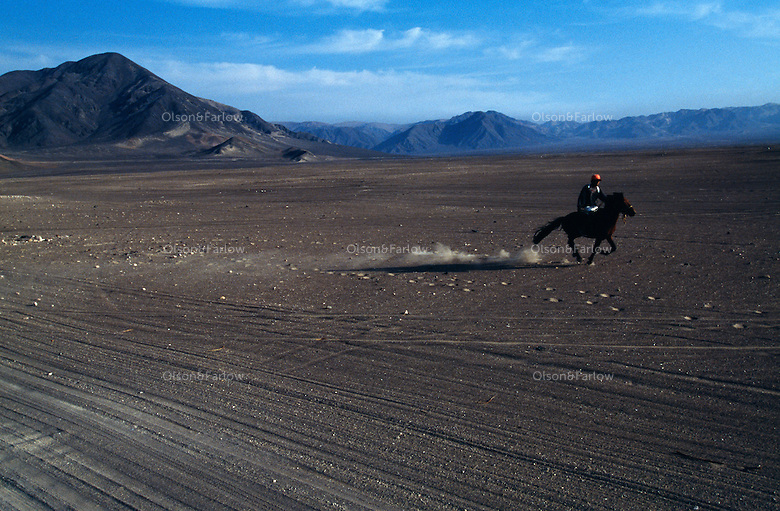 Young boy from rides horseback through the desert near the cemetery where skeletons of a burial ground were dug up and and displayed  beside their graves.