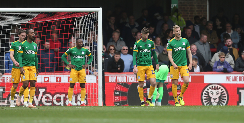 Dejection for Preston<br /> <br /> Photographer Rob Newell/CameraSport<br /> <br /> The EFL Sky Bet Championship - Brentford v Preston North End - Sunday 5th May 2019 - Griffin Park - Brentford<br /> <br /> World Copyright © 2019 CameraSport. All rights reserved. 43 Linden Ave. Countesthorpe. Leicester. England. LE8 5PG - Tel: +44 (0) 116 277 4147 - admin@camerasport.com - www.camerasport.com