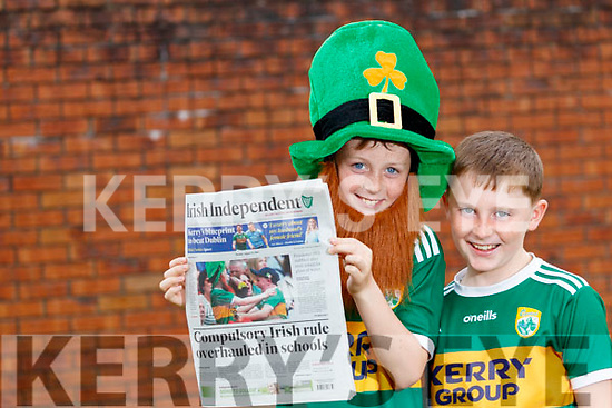 Conor McCarthy (10) and Jackson Brosnan (9) from Ballymacelligott features on the front page of the Irish Independent on Monday.
