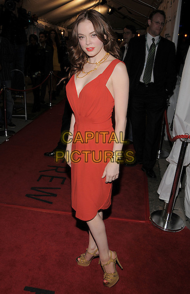 "ROSE McGOWAN .""Fifty Dead Men Walking"" Premiere held at Roy Thomson Hall during the 33rd Annual Toronto International Film Festival, Toronto, Ontario, Canada, 10 September 2008..full length red dress beige yellow sandals platform shoes necklace gold.CAP/ADM/BPC.©Brent Perniac/Admedia/Capital Pictures"