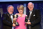 Irene Malone, Carrick-on-Suir Musical Society who won Best Actress in A Supporting Role for her performance as Paulette in 'Legally Blonde' receiving the trophy from on  left, Colm Moules, President, AIMS and Seamus Power, Vice-President at the Association of Irish Musical Societies annual awards in the INEC, KIllarney at the weekend.<br /> Photo: Don MacMonagle -macmonagle.com<br /> <br /> <br /> <br /> repro free photo from AIMS<br /> Further Information:<br /> Kate Furlong AIMS PRO kate.furlong84@gmail.com
