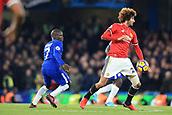 5th November 2017, Stamford Bridge, London, England; EPL Premier League football, Chelsea versus Manchester United; Marouane Fellaini of Manchester Utd under pressure from Ngolo Kante of Chelsea