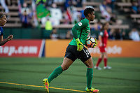 Seattle, WA - Saturday, July 1, 2017:  Adrianna Franch during a regular season National Women's Soccer League (NWSL) match between the Seattle Reign FC and the Portland Thorns FC at Memorial Stadium.