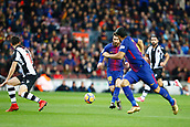 7th January 2018, Camp Nou, Barcelona, Spain; La Liga football, Barcelona versus Levante; Messi from FC Barcelona passing the ball to Suarez
