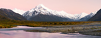 Dawn over Tasman River flats with Aoraki, Mt. Cook, Aoraki, Mt. Cook National Park, UNESCO World Heritage Area, Mackenzie Country, New Zealand, NZ