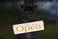 Door to Pooh Corner, a shop and teashop dedicated to the A.A. Milne Winnie the Pooh stories. Ashdown Forest, Sussex, UK, May 20, 2017. Picturesque Ashdown Forest stretches across the countries of Surrey, Sussex and Kent, and is the largest open access space in the South East of England. It is famous as the geographical inspiration for the Winnie the Pooh stories and is popular with fans of the characters.