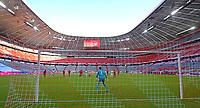 13th June 2020, Allianz Erena, Munich, Germany; Bundesliga football, Bayern Munich versus Borussia Moenchengladbach; Goalie Neuer watches as the crossed ball comes into the box in an empty stadium