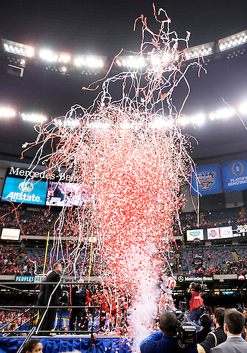 January 02, 2015:  Confetti celebration after NCAA Football game action between the Ohio State Buckeyes and the Alabama Crimson Tide at Mercedes-Benz Superdome in New Orleans, Louisiana.  Ohio State defeated Alabama 42-35.