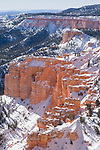 Bryce Canyon National Park, Utah; views looking south from Yovimpa Point with snow in winter