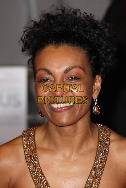 "ADJOA ANDOH.Attending the ""Invictus'"" UK Film Premiere at the Odeon West End cinema, Leicester Square, London, England, January 31st, 2010..arrivals portrait headshot smiling gold earrings hair up straps beaded .CAP/JIL.©Jill Mayhew/Capital Pictures"