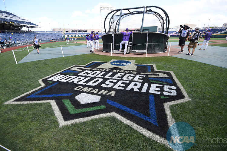 OMAHA, NE - JUNE 26: Louisiana State University players warm up before they take on the University of Florida during the Division I Men's Baseball Championship held at TD Ameritrade Park on June 26, 2017 in Omaha, Nebraska. The University of Florida defeated Louisiana State University 4-3 in game one of the best of three series. (Photo by Justin Tafoya/NCAA Photos via Getty Images)