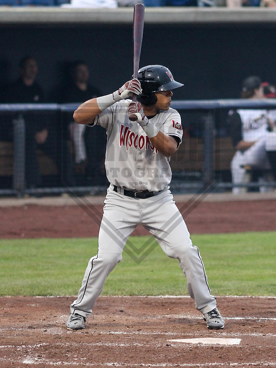 DAVENPORT - May 2015: Wisconsin Timber Rattlers outfielder Brandon Diaz (5) during a Midwest League game against the Quad Cities River Bandits on May 8th, 2015 at Modern Woodmen Park in Davenport, Iowa.  Quad Cities defeated Wisconsin 11-6.  (Brad Krause/Krause Sports Photography)