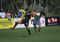 Jack-Henry Sinclair (Team Wellington) competes with Josh Margetts during the ISPS Handa Premiership football match between Team Wellington and Eastern Suburbs at David Farrington Park in Wellington, New Zealand on Sunday, 1 March 2020. Photo: Dave Lintott / lintottphoto.co.nz