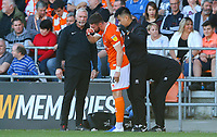 Blackpool's James Husband receives treatment<br /> <br /> Photographer Alex Dodd/CameraSport<br /> <br /> The EFL Sky Bet League One - Blackpool v MK Dons  - Saturday September 14th 2019 - Bloomfield Road - Blackpool<br /> <br /> World Copyright © 2019 CameraSport. All rights reserved. 43 Linden Ave. Countesthorpe. Leicester. England. LE8 5PG - Tel: +44 (0) 116 277 4147 - admin@camerasport.com - www.camerasport.com