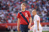Clarence Goodson (21) of the United States. The men's national team of Spain (ESP) defeated the United States (USA) 4-0 during a International friendly at Gillette Stadium in Foxborough, MA, on June 04, 2011.