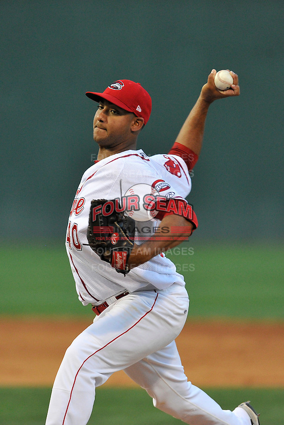 Pitcher Jeffry Fernandez (40) of the Greenville Drive delivers a pitch in a game against the Lakewood BlueClaws on Thursday, June 23, 2016, at Fluor Field at the West End in Greenville, South Carolina. Lakewood won, 8-7. (Tom Priddy/Four Seam Images)