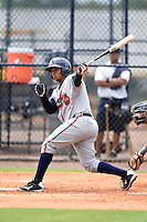 GCL Braves catcher Carlos Martinez (57) at bat during a game against the GCL Yankees 2 on June 23, 2014 at the Yankees Minor League Complex in Tampa, Florida.  GCL Yankees 2 defeated the GCL Braves 12-4.  (Mike Janes/Four Seam Images)
