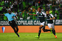 PALMIRA - COLOMBIA - 03 - 03 - 2018: Jeison Angulo, jugador de Deportivo Cali celebra el gol anotado a Rionegro Aguilas Doradas, durante partido entre Deportivo Cali y Rionegro Aguilas Doradas de la fecha 6 por la liga Aguila I 2018, jugado en el estadio Deportivo Cali (Palmaseca) en la ciudad de Palmira. / Jeison Angulo, player of Deportivo Cali celebrates a scored goal to Rionegro Aguilas Doradas, during a match between Deportivo Cali and Rionegro Aguilas Doradas of the 6th date for the Liga Aguila I 2018, at the Deportivo Cali (Palmaseca) stadium in Palmira city. Photo: VizzorImage  / Nelson Rios / Cont.