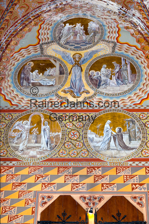 Hungary, Budapest, Castle District: Frescoes depicting lives of the Saints decorating interior of Matthias Church (Matyas-Templom) | Ungarn, Budapest, Stadteil Buda, Burgviertel: Fresken in der Matthiaskirche