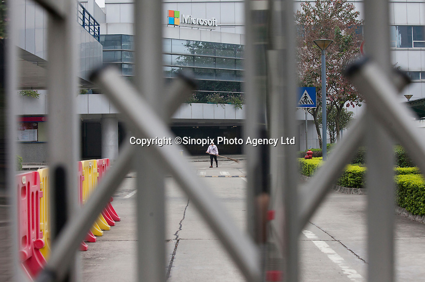A cleaner is seen at a Microsoft facility that used to be a Nokia handset factory, until Nokia was bought out by Microsoft, is seen in Dongguan, Guangdong Province, China, 03 March 2015. At its peak in 2011, the factory used to employ 10,000 workers, but now there are only 15 staff on the payroll. The factory will close for good at the end of March 2015.
