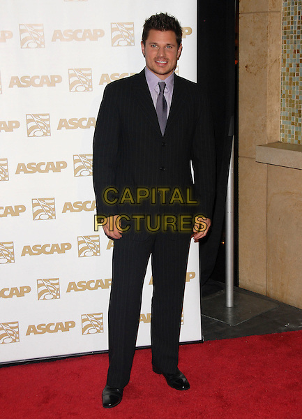 NICK LACHEY .Attends The ASCAP Pop Awards held at The Kodak Theatre in Hollywood, California on .April 18th, 2007.full length black blue pinstripe suit .CAP/DVS.©Debbie VanStory/Capital Pictures