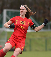 20190206 - TUBIZE , BELGIUM : Belgian Lea Cordier pictured during the friendly female soccer match between Women under 17 teams of  Belgium and The Netherlands , in Tubize , Belgium . Wednesday 6th February 2019 . PHOTO SPORTPIX.BE DIRK VUYLSTEKE