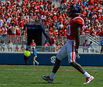 A.J. Moore celebrates after a tackle during the game against UT Martin Sat., Sept. 9, 2017. Ole Miss wins 45-23. Photo by Marlee Crawford/Ole Miss Communications