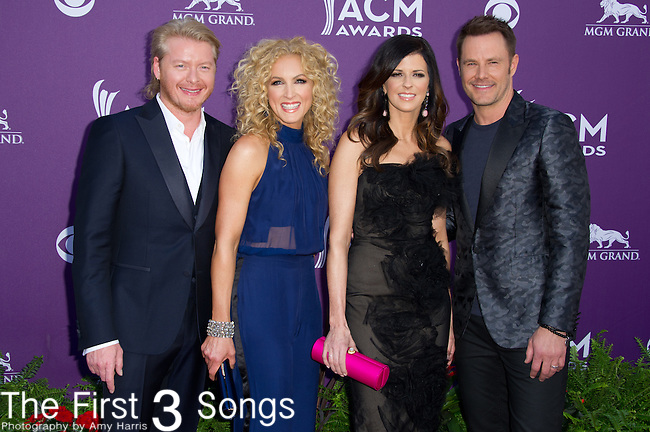 Philip Sweet, Kimberly Schlapman, Karen Fairchild, and Jimi Westbrook of Little Big Town attend the 48th Annual Academy of Country Music Awards in Las Vegas, Nevada on April 7, 2012.