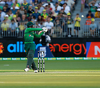 8th November 2019; Optus Stadium, Perth, Western Australia Australia; T20 Cricket, Australia versus Pakistan; Shadab Khan of Pakistan misses a pull shot whicc goes through to the wicket keeper - Editorial Use