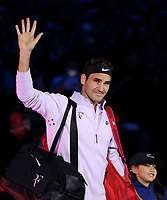 Roger Federer enters the court prior to his match against Jack Sock<br /> <br /> Photographer Rob Newell/CameraSport<br /> <br /> International Tennis - Barclays ATP World Tour Finals - O2 Arena - London - Day 1 - Sunday 12th November 2017<br /> <br /> World Copyright &copy; 2017 CameraSport. All rights reserved. 43 Linden Ave. Countesthorpe. Leicester. England. LE8 5PG - Tel: +44 (0) 116 277 4147 - admin@camerasport.com - www.camerasport.com