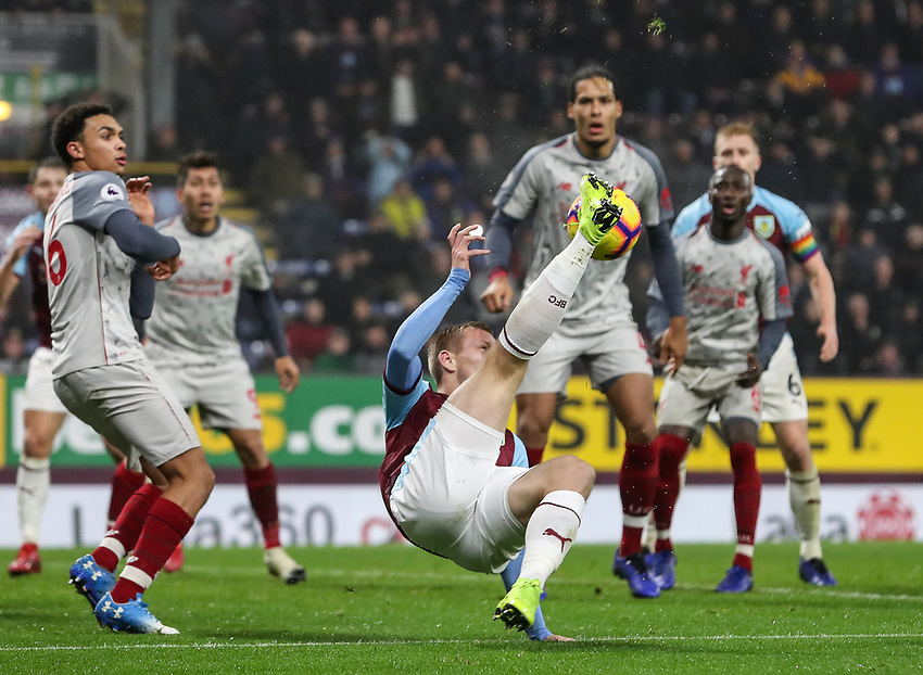 Burnley's Matej Vydra hooks the ball back into the penalty area<br /> <br /> Photographer Andrew Kearns/CameraSport<br /> <br /> The Premier League - Burnley v Liverpool - Wednesday 5th December 2018 - Turf Moor - Burnley<br /> <br /> World Copyright © 2018 CameraSport. All rights reserved. 43 Linden Ave. Countesthorpe. Leicester. England. LE8 5PG - Tel: +44 (0) 116 277 4147 - admin@camerasport.com - www.camerasport.com