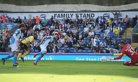 Blackburn Rovers' Adam Armstrong sees his shot saved by Millwall's Bartosz Bialkowski<br /> <br /> Photographer Kevin Barnes/CameraSport<br /> <br /> The EFL Sky Bet Championship - Blackburn Rovers v Millwall - Saturday September 14th 2019 - Ewood Park - Blackburn<br /> <br /> World Copyright © 2019 CameraSport. All rights reserved. 43 Linden Ave. Countesthorpe. Leicester. England. LE8 5PG - Tel: +44 (0) 116 277 4147 - admin@camerasport.com - www.camerasport.com
