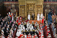 18 May 2016 - London England - Queen Elizabeth II and Prince Philip Duke of Edinburgh with Prince Charles Prince of Wales and Camilla Duchess of Cornwall during the State Opening of Parliament in the House of Lords in London. The State Opening of Parliament marks the formal start of the parliamentary year and the Queen's Speech sets out the government's agenda for the coming session. Photo Credit: ALPR/AdMedia