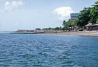 Bali, Denpasar, Sanur Beach. The beach here is not as nice as Kuta, but great for families with children.