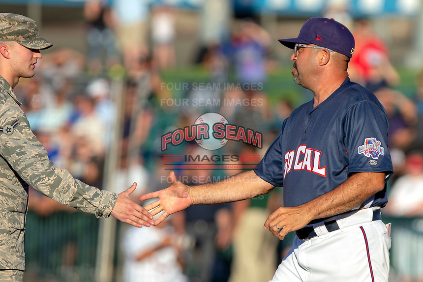 All Star South Manager Fred Ocasio of the Lancaster Jethawks greets military personnel prior to the 2018 California League All-Star Game at The Hangar on June 19, 2018 in Lancaster, California. The North All-Stars defeated the South All-Stars 8-1.  (Donn Parris/Four Seam Images)
